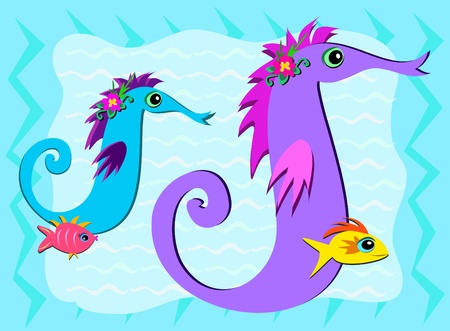 Sea Horses and Fish Share a Moment Vector