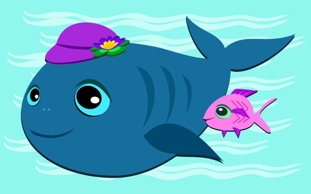 Whale with Hat and Fish Friend Vector
