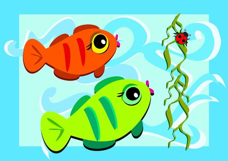 Two Fish and a Ladybug Vector