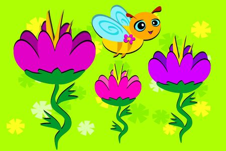 Bee and Three Flowers Stock Vector - 12085092