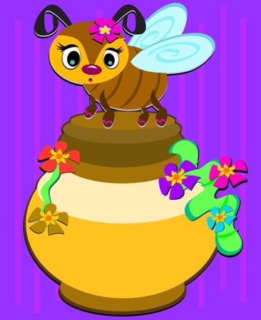Bee and Honey Pot Иллюстрация