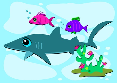 Shark and Two Fish Friends Stock Vector - 12085090