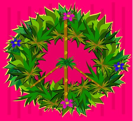 Peace Sign Wreath with Flowers and Leaves Vector