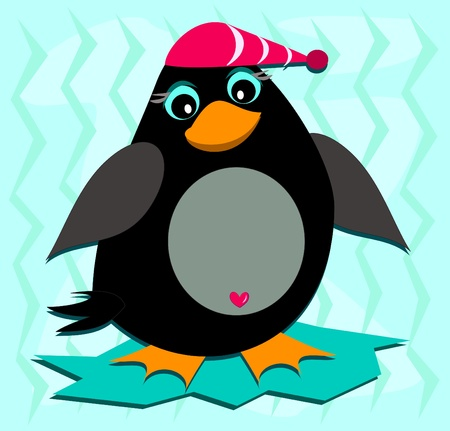Cute Penguin with a Red Cap Stock Vector - 12369276