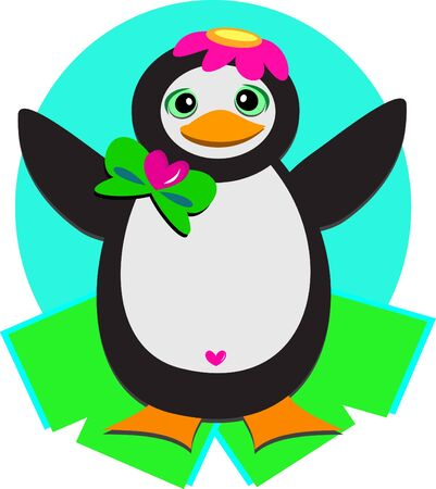 Penguin with Flower Cap