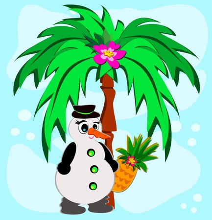 Tropical Palm with Snowman Vector