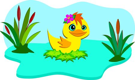 cattail: Nature Pond with Cute Duck Illustration