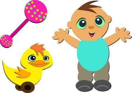 Mix of Cute Baby, Rattle, and Toy Duck Vector