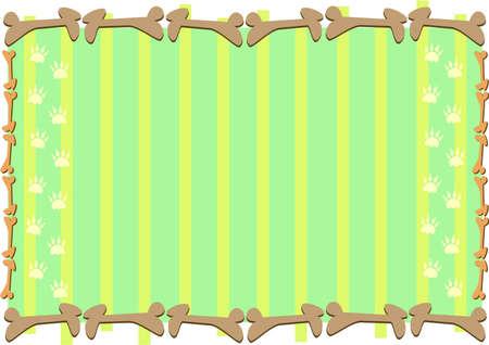 frame: Frame of Bones, Paws, and Stripes Illustration