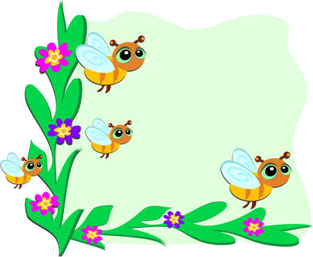 Frame of Bees and Plants Vector