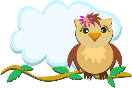 Owl on a Branch with Leaves Vector