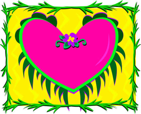 Framed Heart surrounded by Plants Иллюстрация
