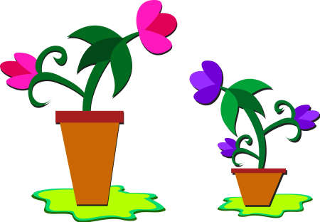 きれいな花とフラワー ポット
