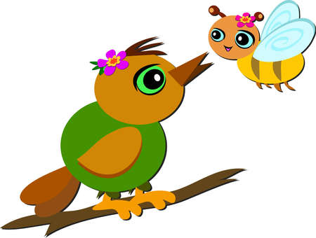 bee on flower: Cute Bird and Bee are Friends Illustration