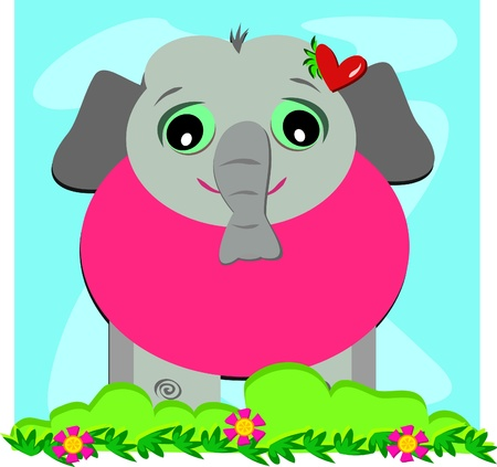 Baby Elephant with a Heart Vector
