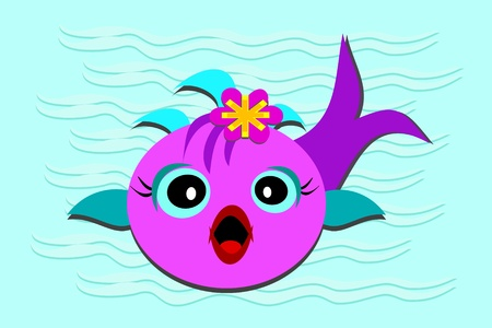 opened mouth: Fish Baby with Opened Mouth Illustration