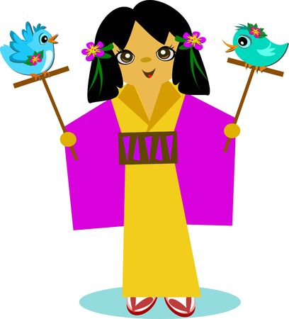 Japanese Girl with Bird Sticks 向量圖像