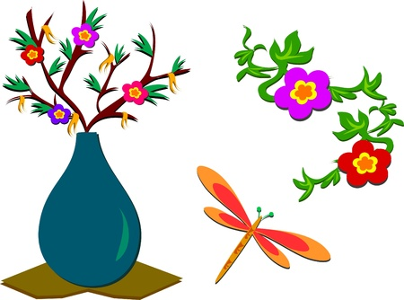 Mix of Flowers, Plants, Dragonfly Vector
