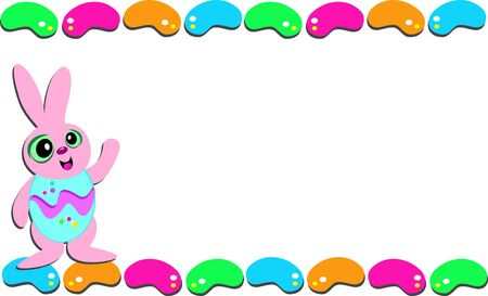 Easter Frame of Jellybeans and Rabbit