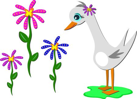 Gray Goose with Flowers