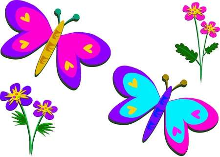 Peaceful Butterflies and Flowers Vector