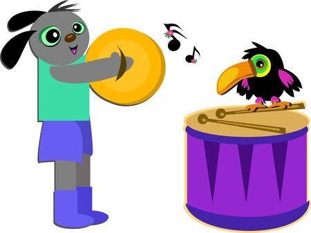音楽的な犬とオオハシ鳥