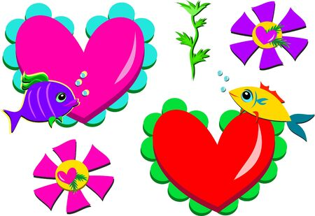 Mix of Valentine Fish and Hearts Vector