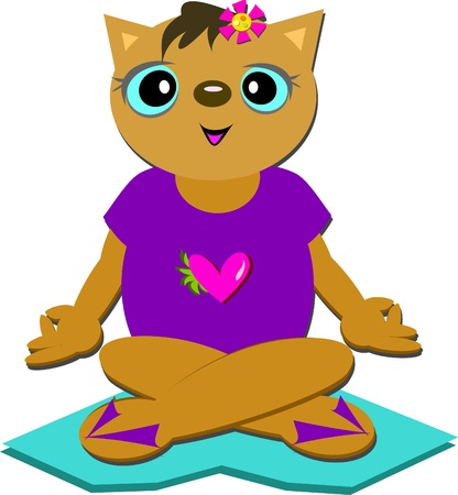 Sweet Cat Meditating on Love Stock Vector - 14258729