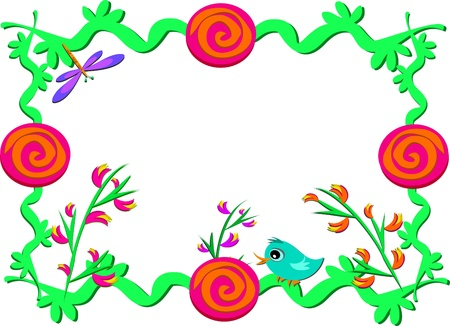 Frame of Vines, Plants, Flowers, and Spirals Ilustrace