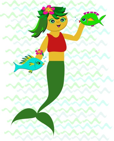 Sweet Mermaid with Fish Friends Stock Vector - 15197979