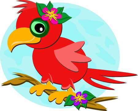 Red Parrot on a Branch Vector
