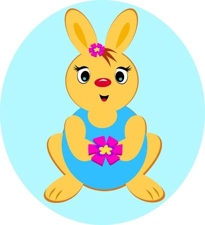 Conejo con una flor Foto de archivo - 15197970