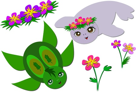 Seal and Turtle are Friends Stock Vector - 15197982