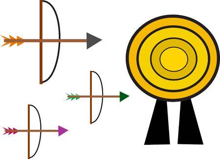 Bow and Arrow Target Ilustração