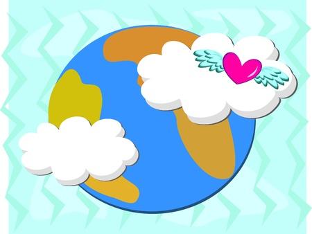 madre tierra: Madre Tierra con un coraz�n amoroso Vectores