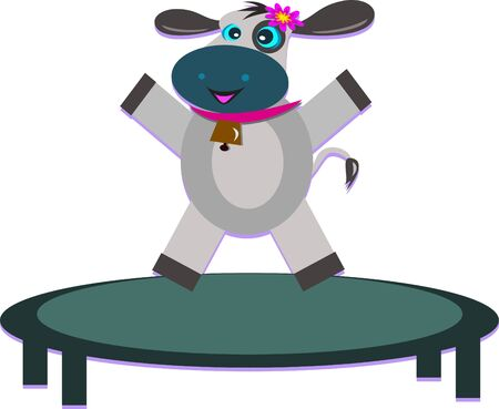 trampoline: Exercising Cow on a Trampoline Illustration