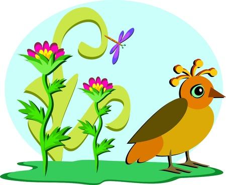 Quirky Bird in a Garden Иллюстрация