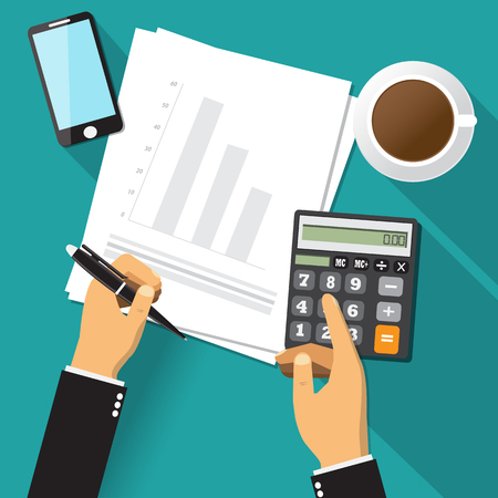 financial adviser: Business adviser financial audit,paper sheet, hands,coffee,smartphone, calculate vector.