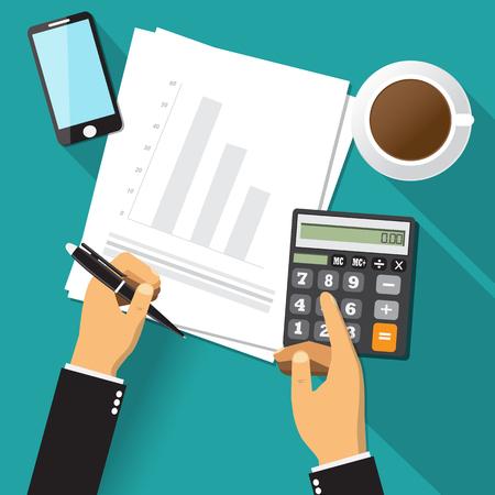Business adviser financial audit,paper sheet, hands,coffee,smartphone, calculate vector.