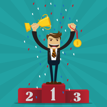 Businessman proudly standing on the winning podium holding up winning trophy and left hand holding a winners medal -vector illustration.