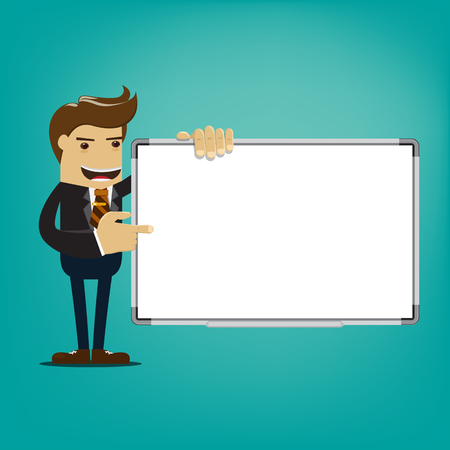 Business man holding whiteboard