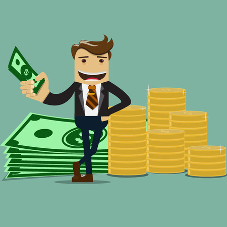 Businessman with money vector- Business Concept.