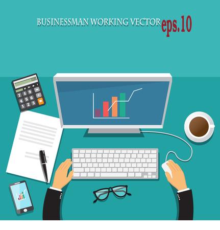 Businessman workings vector concept Illustration