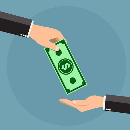 Giving money - vector illustration Illustration