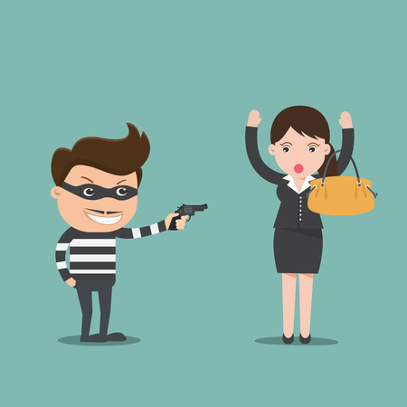 bandit: Bandit threatens with a gun to business woman , Crime concept  - vector illustration