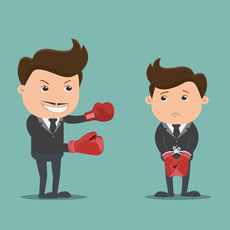 overwhelmed: Boss with employee, Overwhelmed young businessman, The boss fights are on employees Illustration