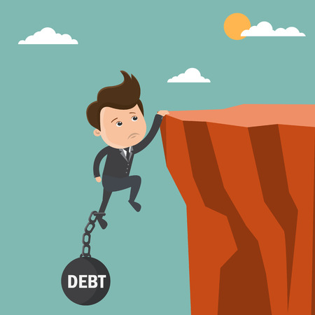 Businessman try hard to hold on the cliff with debt burden. Business concept - vector illustration Illustration