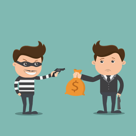 scammer: Bandit threatens with a gun to business man and money bag , Crime concept  - vector illustration