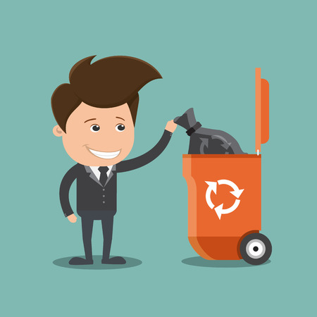 throwing paper: Business man throwing a plastic sack into the trash bin , Business concept  - vector illustration