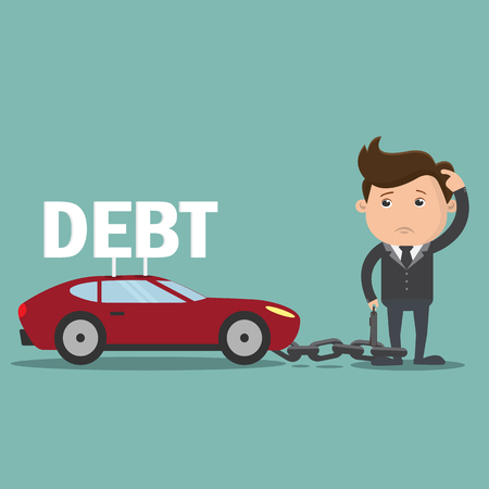 Business man with debt Car , Debt concept  - vector illustration